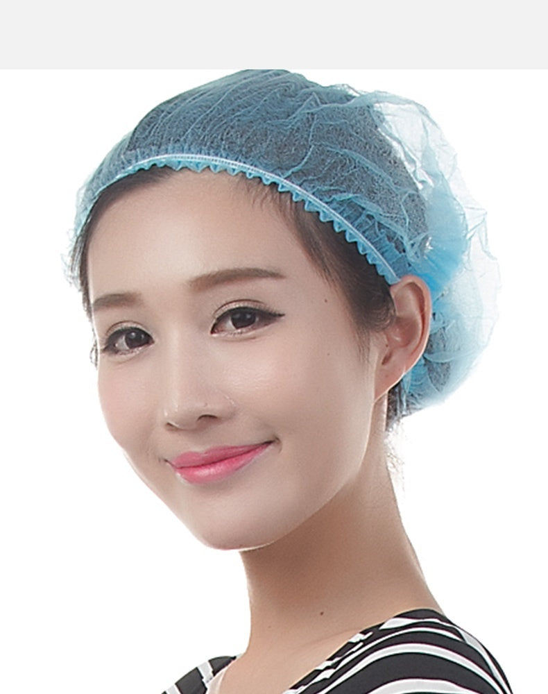 100Pcs Disposable Hair Hat Anti Dust Net Bouffant Cap Non-Woven Head Cover Hat workshop medical work hat kitchen chef hair cap