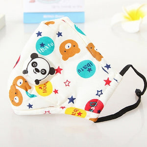 Pure Cotton Face Mouth Mask for Children Kids Cartoon Animal PM2.5 Anti Dust Pollution Respirator with Panda Shape Breath Valve