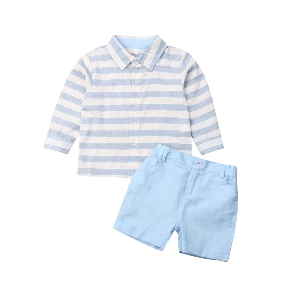 Baby Boy Kids Wedding Formal Gentleman Suit Striped Tops+Shorts Clothes Set 3-8 Years
