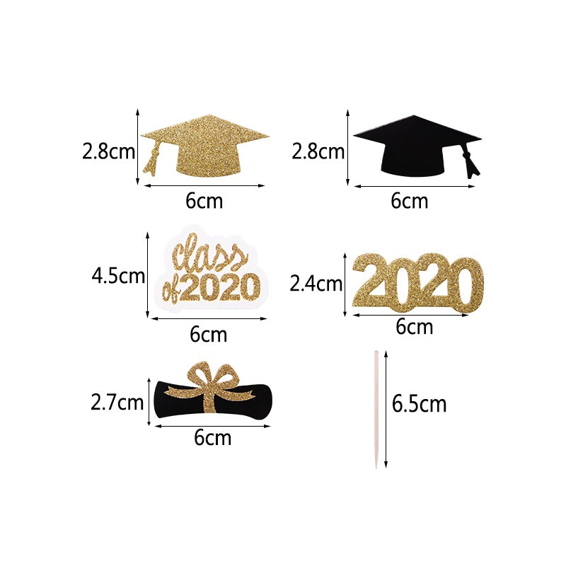 20pcs 2020 Graduation Hat Cupcake Toppers Paper Diploma Cake Toppers for 2020 Celebrate Graduation Theme Party Decorations Supplies