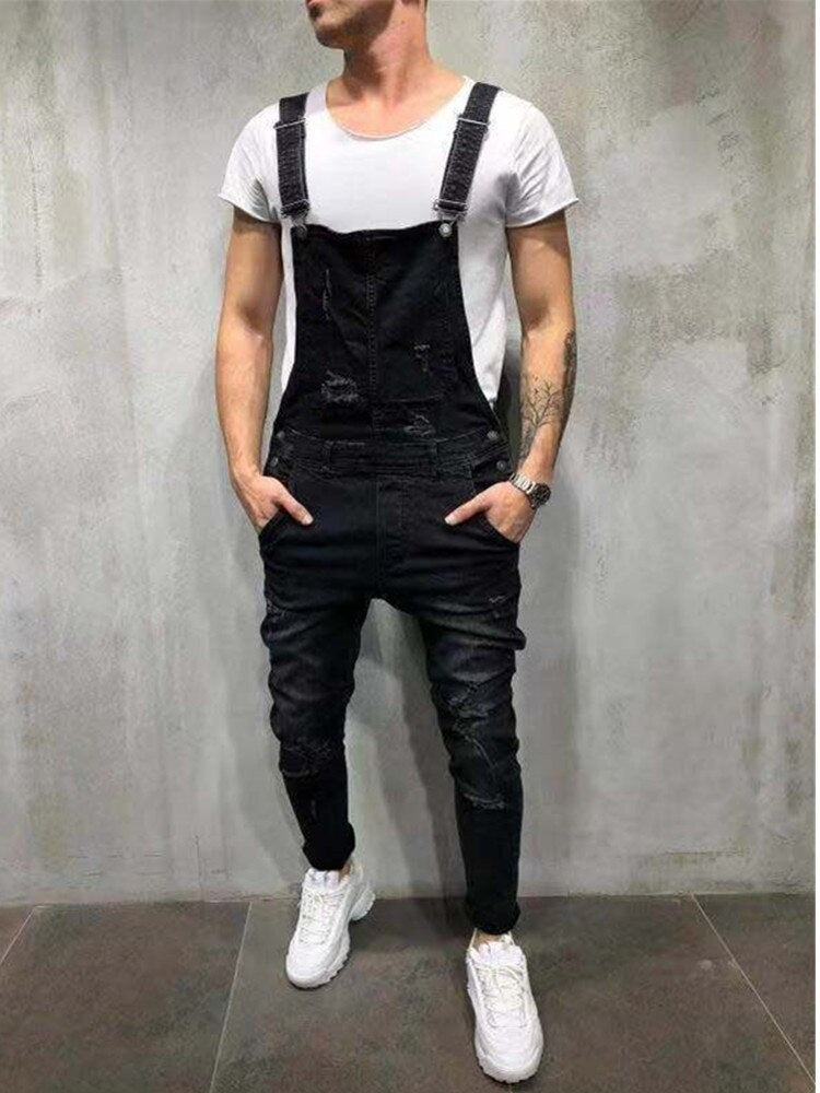 2020 HOT New Style Men's Ripped Jeans Jumpsuits Hi Street Distressed Denim Bib Overalls for Man Suspender Pants