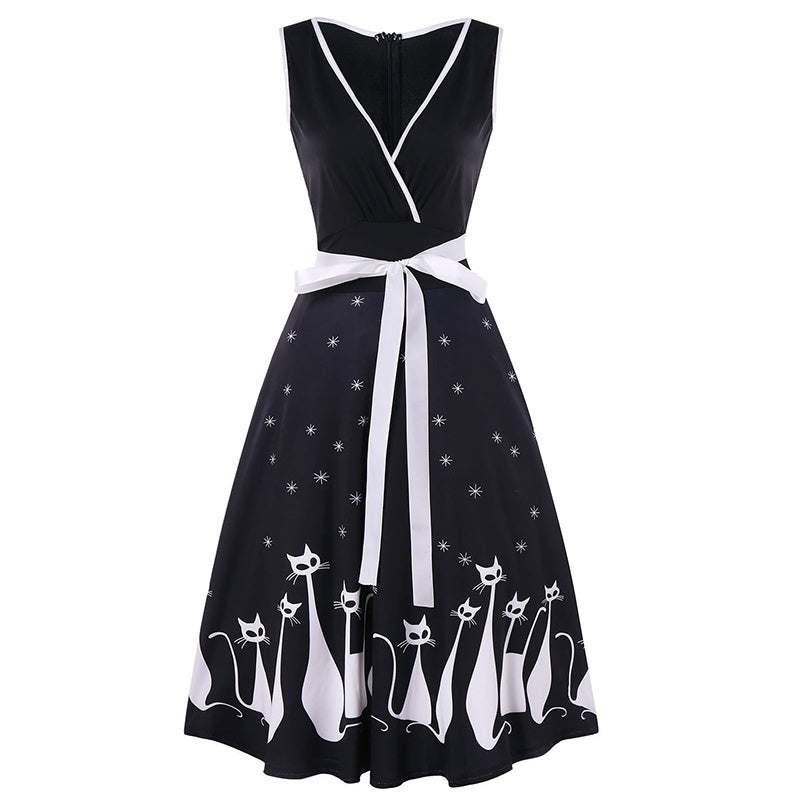 Women Retro 50s Cat Print Pinup Evening Party Prom Pinup Swing Dress Plus Size