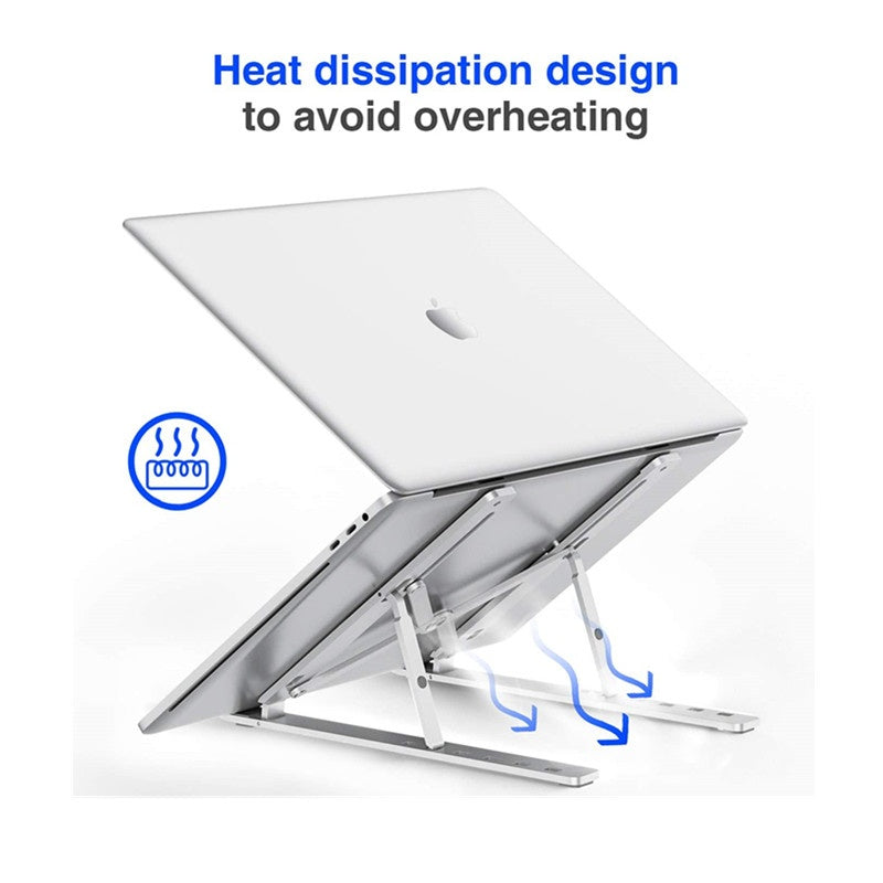 Foldable Portable Desktop Holder Compatible with All Laptops (Up to 14 inch) Laptop Stand Adjustable Aluminum Laptop Tablet Stand