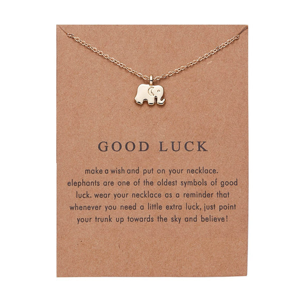Fashion Good Luck Elephant Pendant Necklace  Clavicle Chains Statement Necklace Women Girl Holiday Beach Jewelry