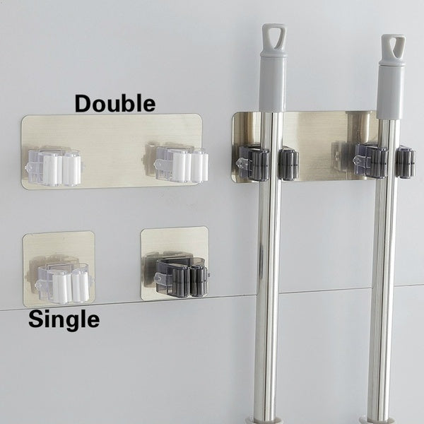 The Magic Stick Strong Hook / Bathroom Mop Hanger / Bathroom Wall Nail-free Mop Clip Card Holder
