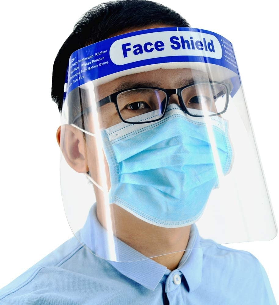 Safety Face Shield, Adjustable Transparent Full Face Protective Visor with Eye & Head Protection, Anti-Spitting Splash Facial Cover for Women Men