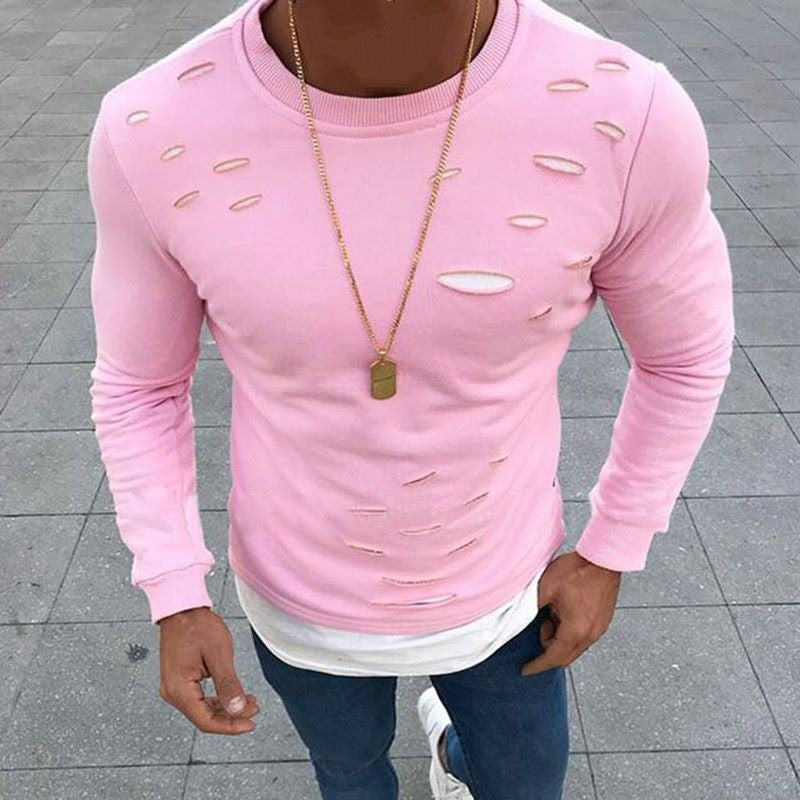 5 Colors Spring Fashion Men's Casual O-neck Fake Two Pieces T Shirt Slim Fit Long Sleeve Shirt Tops Hole Cotton Tees Shirt Plus Size