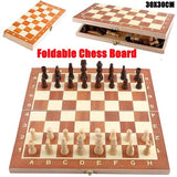 Foldable Wooden Chess Board Set Travel Games Chess Backgammon Checkers Toy Chessmen Entertainment Game Board Toys Gift