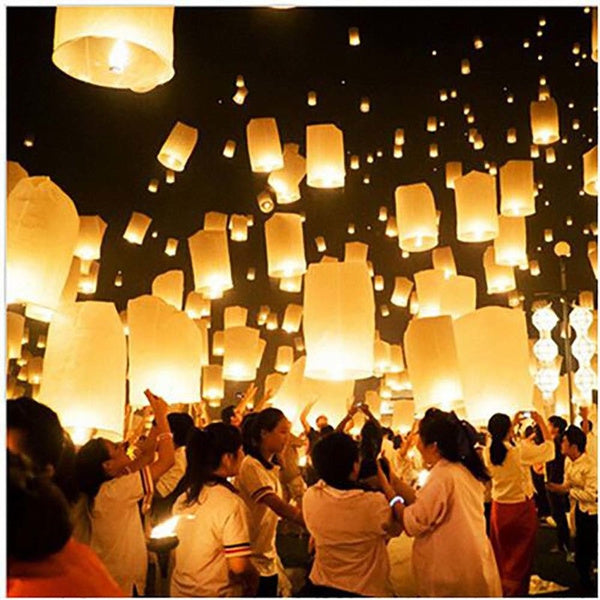 10pcs White Paper Chinese Lanterns Fire Sky Flying Paper Candle Wish Lamp for Birthday Wish Party Wedding Decoration