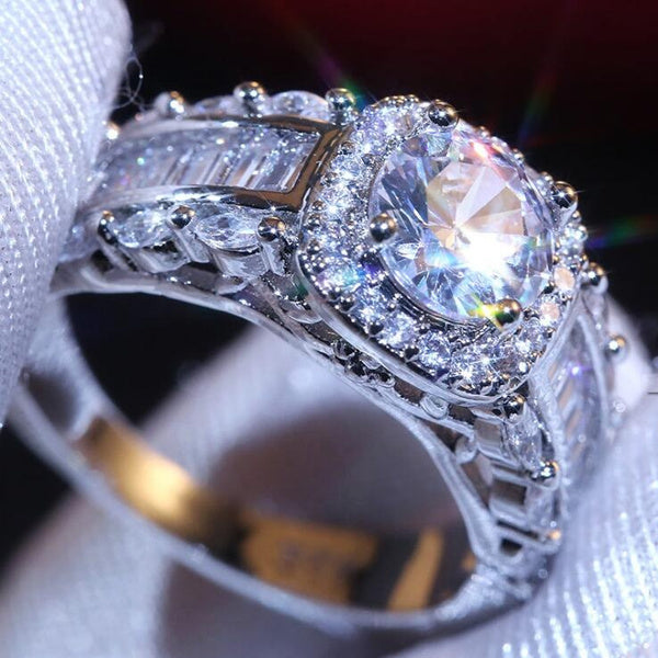Exquisite Sparking Handmade 925 Sterling Silver Cut Created Moissanite Wedding Engagement Ring Jewelry Rings Size 5-11