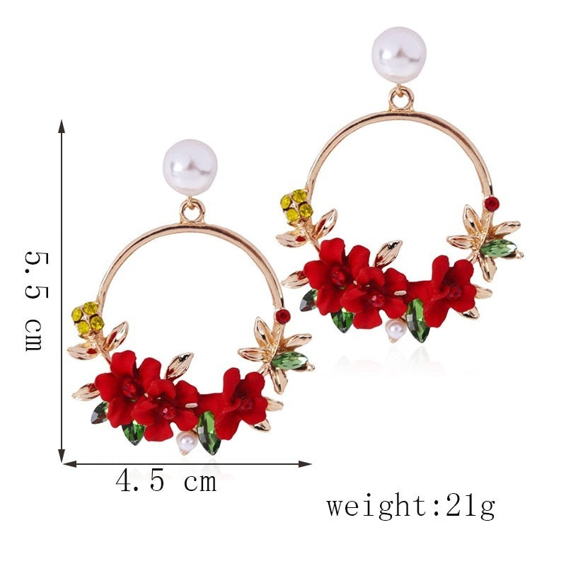 Trendy Cute Pink Flower Earrings For Women Girls Jewelry Female Rhinestone Gold Metal Round Circle Drop Earrings Gifts Brincos
