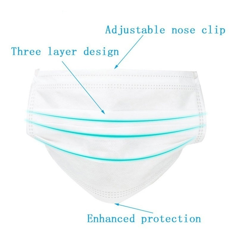 Disposable Medical Mask with Three-layer Protective Cushion Surface 50/40/30/20/10/5/1PCS Best Mask