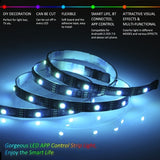 HJFA Bluetooth 5V USB LED Strip Lights 5050RGB 16.4 Ft/5M 150 LED Stripes Lights Smart-Phone Controlled Waterproof RGB LED Band Light for Home or Outdoor Decoration (1/2/3/4/5m)