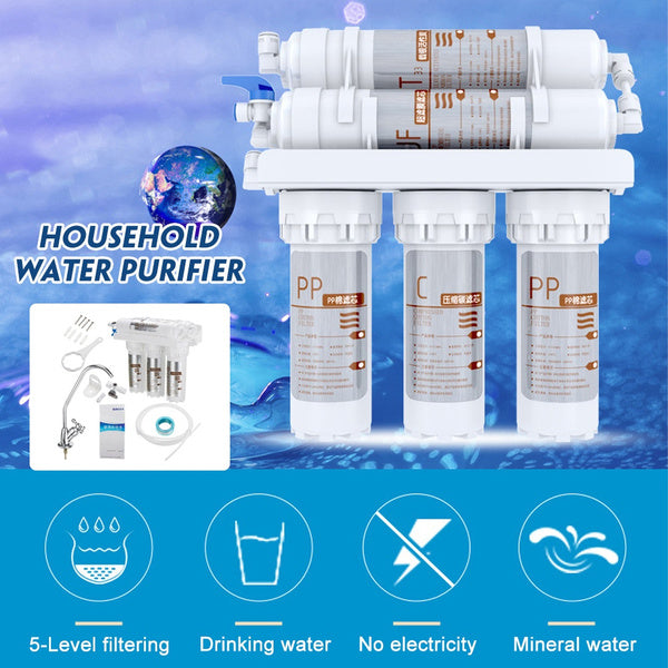 New 5 Stage Ultrafiltration Water Purifier Home Kitchen Clean Faucet Purifier Activated Carbon Drinking Water Filtration System without/with 5pc Filter Element