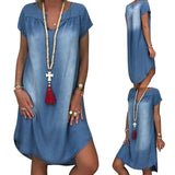 Plus Size Ladies Short Sleeve Summer Loose Denim Midi Dress Women Jeans Dresses