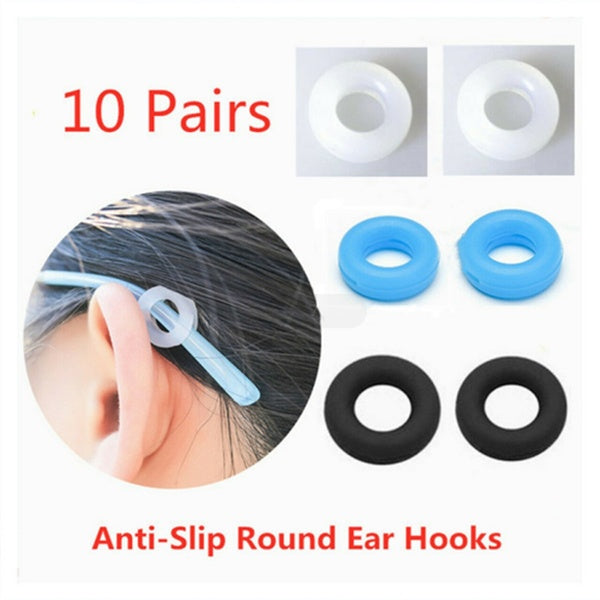 10 Pairs Anti-Slip Round Comfort Glasses Retainers Silicone Temple Sleeve