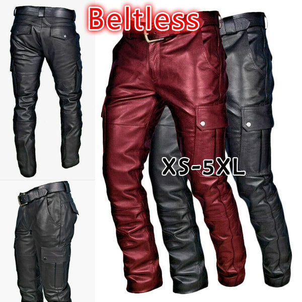 Men's leather motorcycle pants with cargo pockets, black, no belt