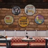Vintage BBQ Bowling Kitchen Zone Round Metal Sign Cafeteria Home Decor Retro Free Beer Tin Signs Man Cave Hanging Round poster