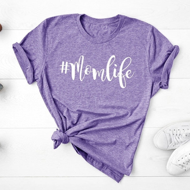 Mom Shirts, Letter Print Shirt, Mom Life Shirt, Shirts for Moms, Mothers Day Gift, Trendy Mom T-Shirts, Cool Mom Shirts, Shirts for Women, Plus Size XS-5XL