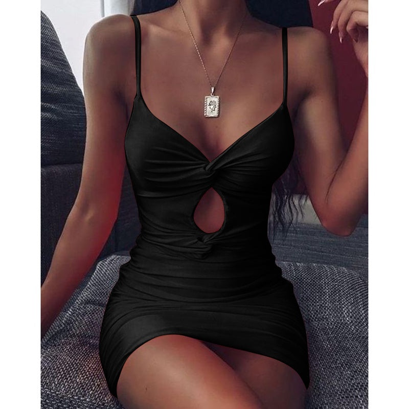 New Women Fashion Spaghetti Strap Pure Color Bodycon Slim Fit Dress Simple Sleeveless Howllow Out Casual Cami Dresses Plus Size