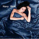 3/4Pcs Satin Silk Bedding Sets Solid Color Bed Set Bed Sheet Cool Feeling Summer Bedding Queen King Full Twin Size