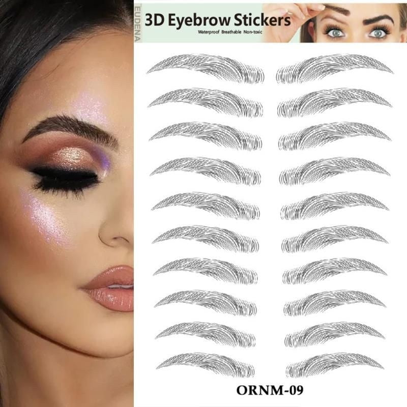 1 Pc New Arrvial 3D Hair-like Authentic Eyebrows Water-based Brow stickers Waterproof Lasting Eyebrow Tattoo Sticker False Eyebrow