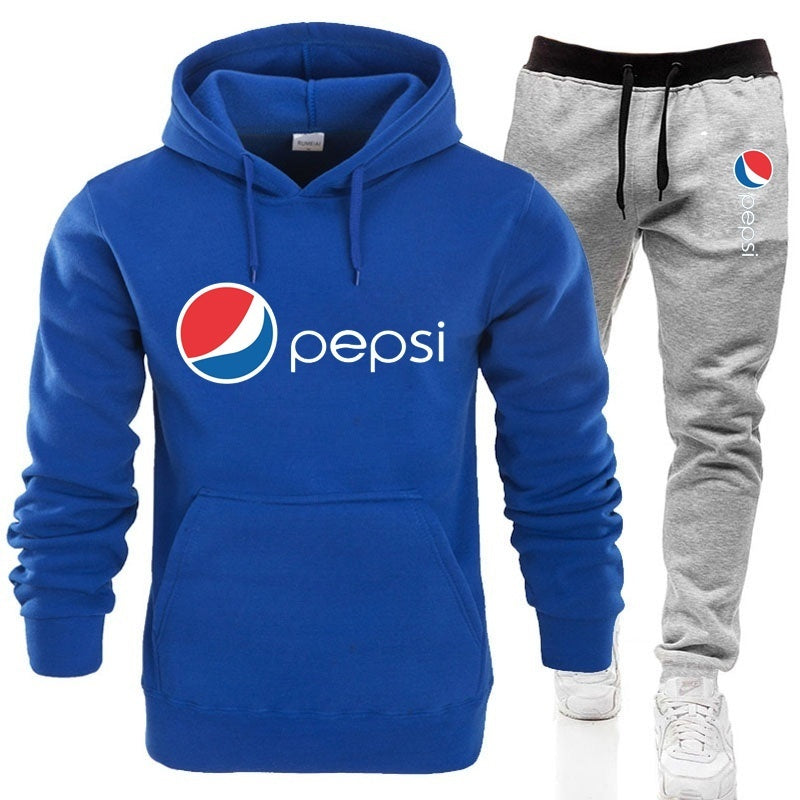 Pepsi-Cola Hoodie Set Men's Fashion Printed Casual  Hoodie + Pants Set  Sport Suit Jogging Suit