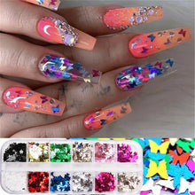 Load image into Gallery viewer, 12 Grids/Set Nail Sequins Aluminum Butterfly 3D Flake Nail Art Mirror Glitter Foil Decoration