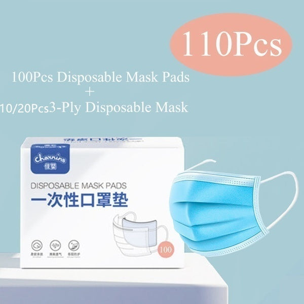 100Pcs 3-Ply Disposable Face Mask Pads 10/20PCS Dust Mask Flu Face Masks with Elastic Ear Loop for All People