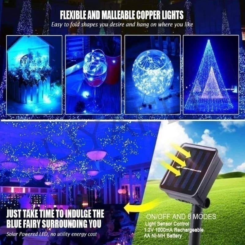 20/50/100/150/200LEDs USB/Solar Powered String Lights 8 Modes Copper Wire Fairy Lights Lighting for Wedding Christmas