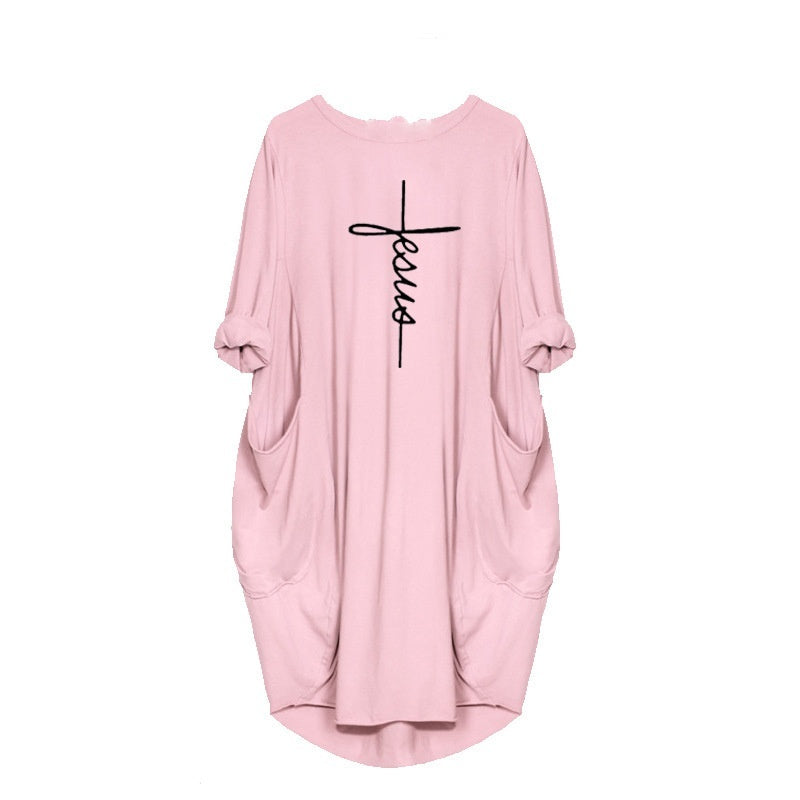 2020 New Faith Printed Long T-shirt Women Pocket Loose Dress Cotton Dress Mother's Day Gift
