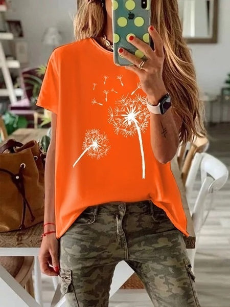 Summer New Fashion Women Dandelion Print T-shirt Short Sleeve O-neck Boho Shirt Graphic Tee Shirt Casual Loose Yoga Top Blouse for Women Lady Plus Size XS-5XL
