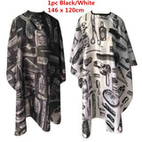 Black/White Waterproof Printed Haircut Cloth Barber Cape Hairdressing Cape Apronl Beauty Hair Cape Hairdressing Apron