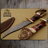 Tin Sign Damascus Steel Hunting Bowie Knife (20X30cm)