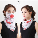 Women Chiffon Outdoor Sunscreen Driving Masks Protective Silk Scarf Mask Face Mask Scarf