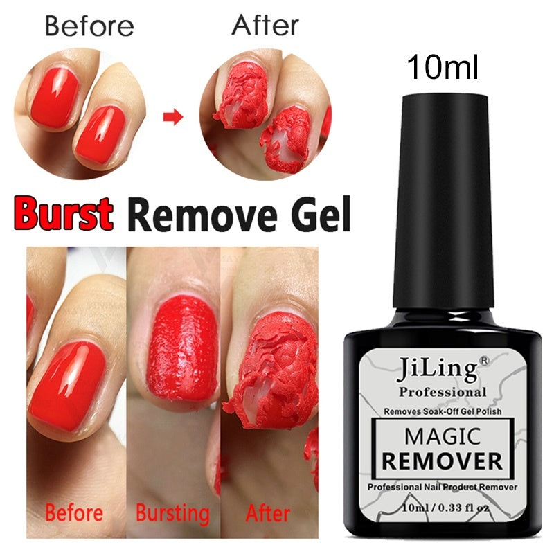 10ML Burst Magic Remover Gel Nail Polish 2 Min Nail Sticky Layer Gel Cleaner Liquid Degreaser