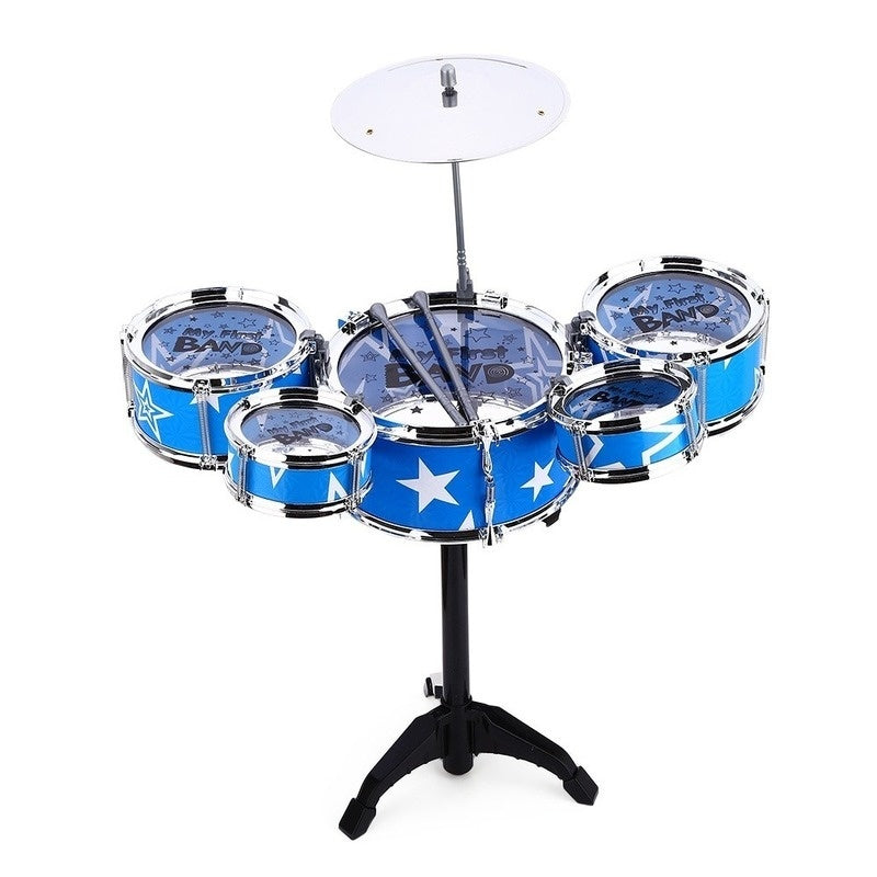 Kids Deluxe 5 Jazz Drums Kit Musical Instrument Toy with Cymbal Stool Christmas Birthday Gift