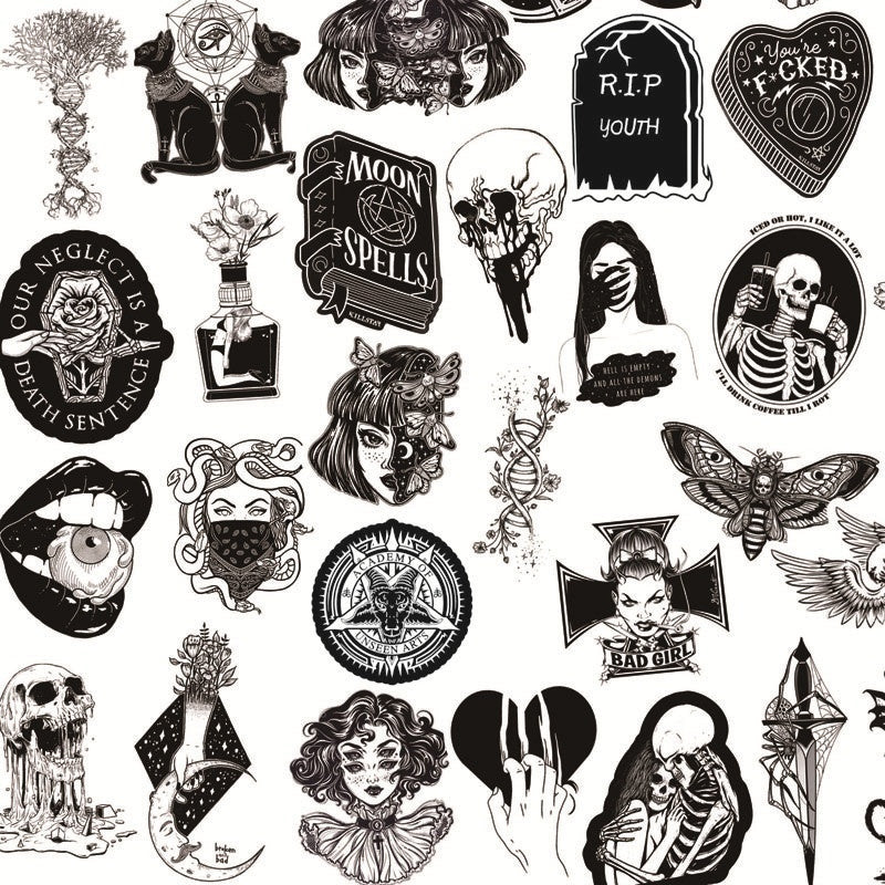 25/50Pcs Black Horror And Thriller Style Gothic Luggage Phone Laptop Refrigerator PVC Waterproof Sticker Decal