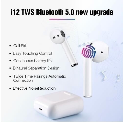 Hot I12 Tws Touch Control Wireless Bluetooth 5.0 Mini True Wireless Stereo Earbuds Sports Sweatproof Earphones 3D Super Bass Headphones Magnetic Charging Box for Music