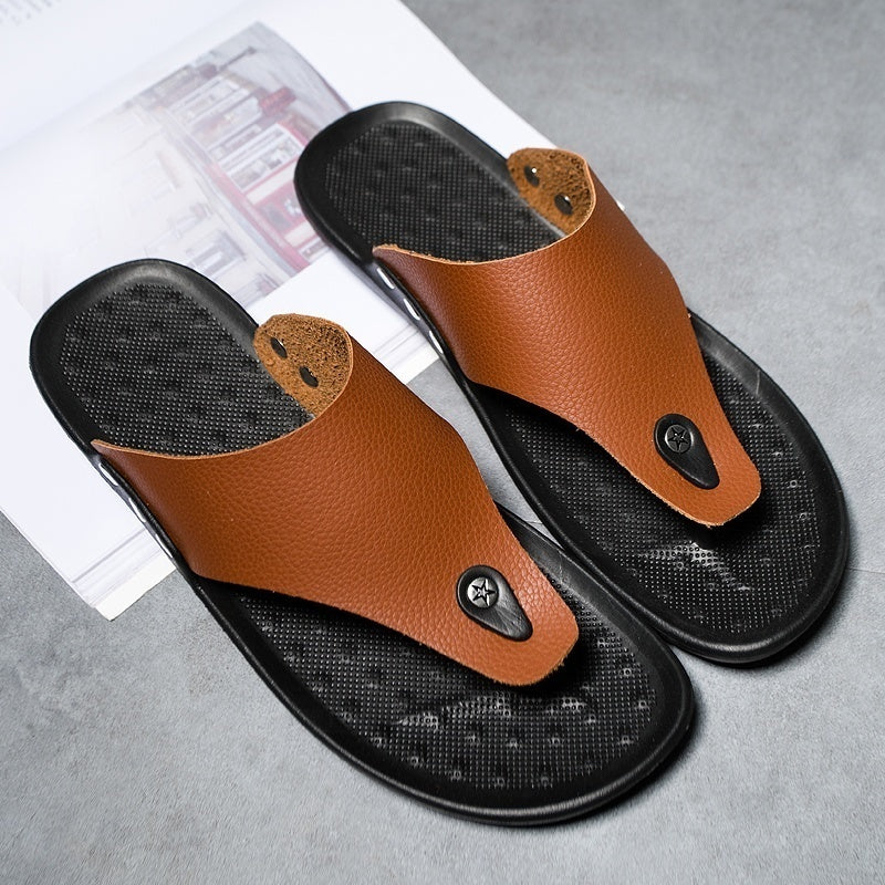 Flip Flops Black Brown White Fashion Summer Leather Shoes Men Slip on Casual Flip Flops Fashion Leather Sandals Summer Breathable