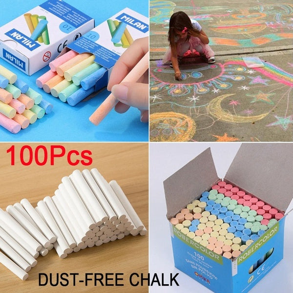 100Pcs/Box Colour & White Chalk Stick Dust-Free Side Walk Chalk Painted Chalk Kids Playground School Art Learning Painting Accessories