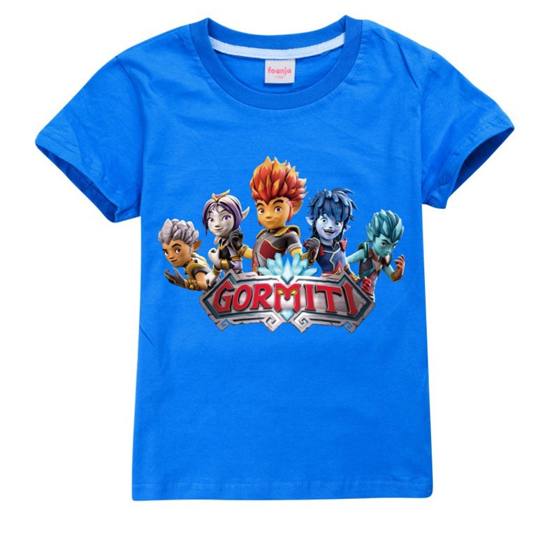 Summer Children Short Sleeve Tee Shirt 100% Cotton Casual High Quality Gormiti Printed O-neck Cozy T-shirt for Boys Girls