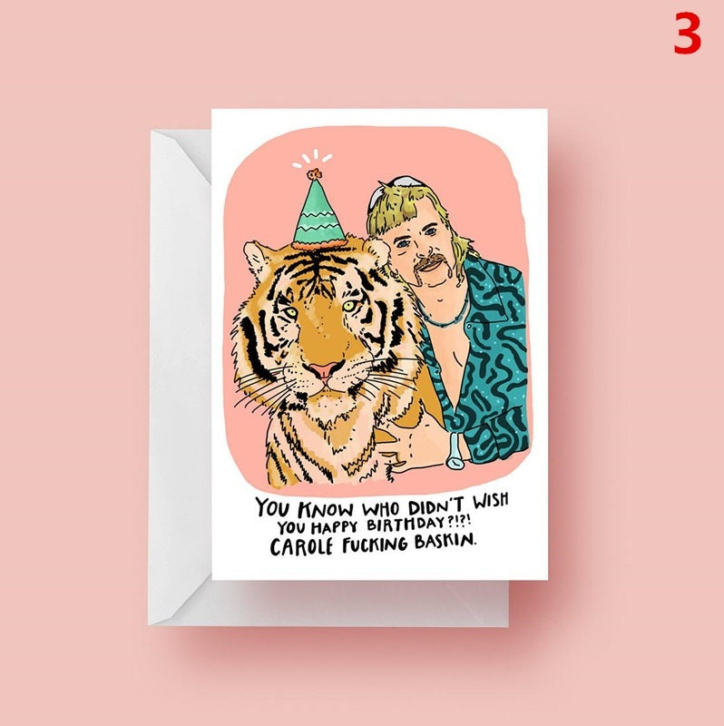 Funny Tiger King Joe Exotic Birthday Card Isolation Card Funny Greeting Cards