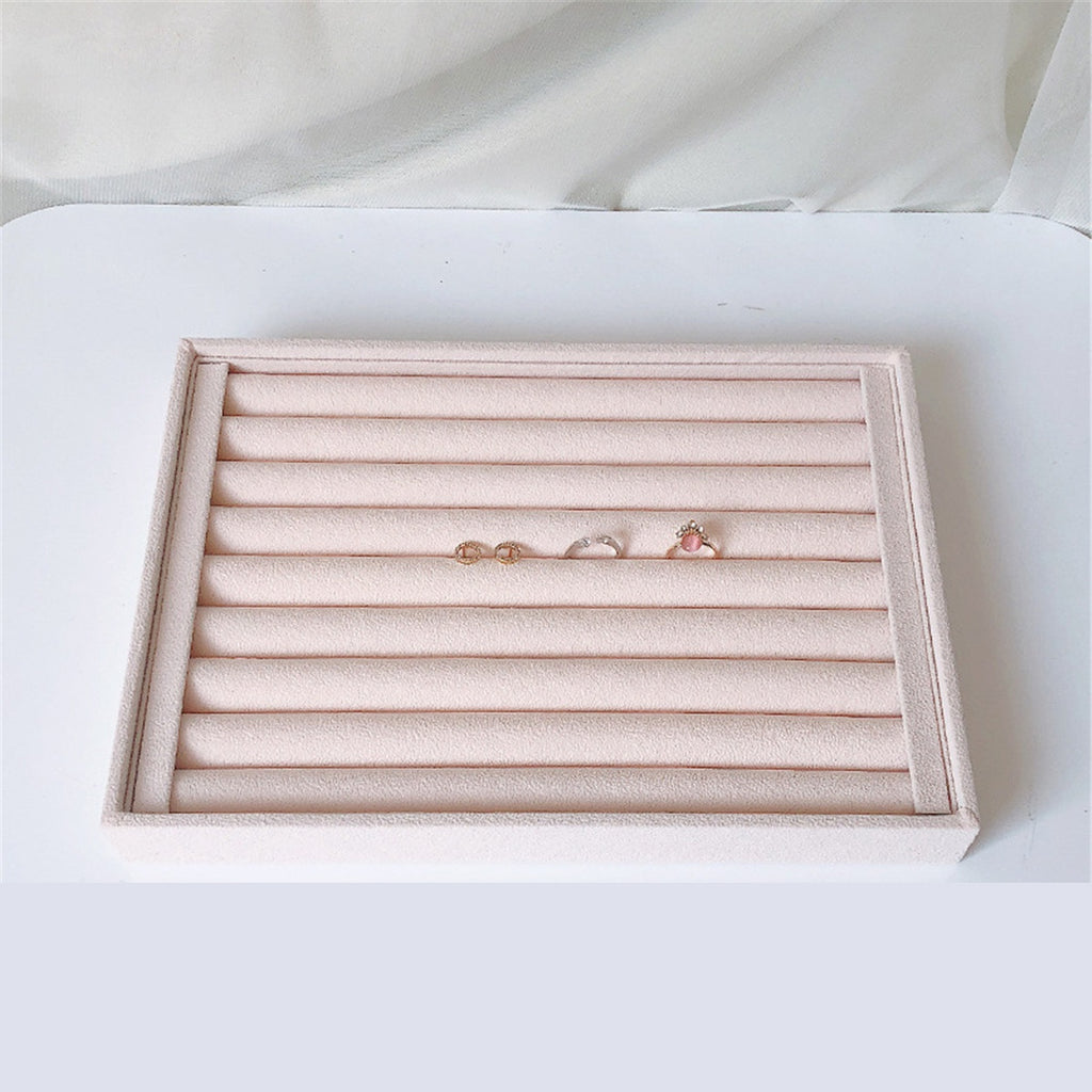 Jewelry Velvet Display Box Ring Display Organizer Box Tray Holder Earring Storage Case