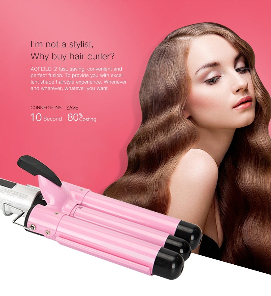 Aofeilei 19mm Triple Barrels Hair Curling Iron Waver Wand With US,EU,UK Plug