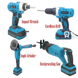 18V Cordless Li-lon Rechargeable Professional Electric Power Tools ,Angle Grinder,Drill, Impact Wrench,Reciprocating Saw(optional)Battery & Charger Kit