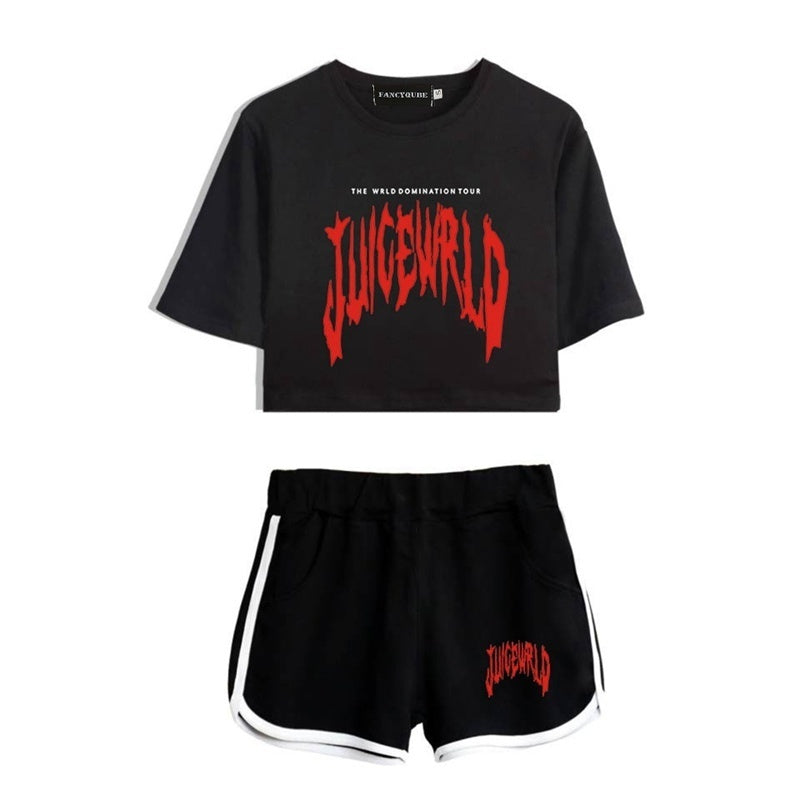 Juice-Wrld Letter Printed Crop Top And Shorts Set Summer Short Sleeve Crop Top And Elastic Beach Shorts Casual Two Pieces