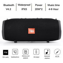 Load image into Gallery viewer, 20/40W TG117/TG118 Bluetooth Speaker Outdoor Wireless Column Subwoofer Music Center BoomBox Portable 3D stereo 3600mAh battery FM/TF/AUX