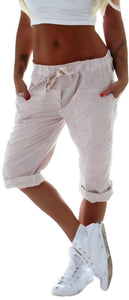 Women's Jogger Capri Pants Workout Cotton Linen Capris Summer Harems Shorts Drawstring Waist Sweatpants