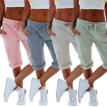 Load image into Gallery viewer, Women's Jogger Capri Pants Workout Cotton Linen Capris Summer Harems Shorts Drawstring Waist Sweatpants
